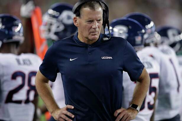 UConn coach Randy Edsall during the first half against South Florida Saturday, Oct. 20, 2018, in Tampa, Fla.