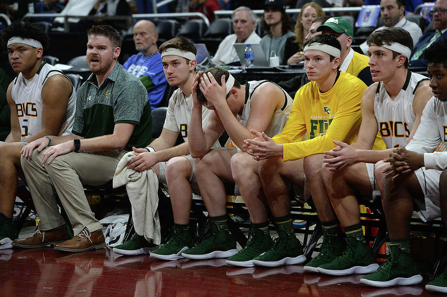 East Chambers' bench reacts as the clock winds down to a loss to Brock during their state semi-final match-up Thursday at the Alamodome. Photo taken Thursday, March 7, 2019 Kim Brent/The Enterprise Photo: Kim Brent, The Enterprise / BEN