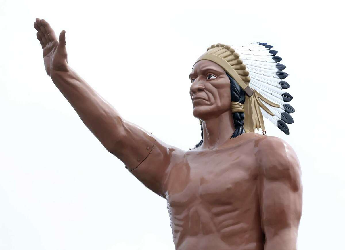 The fiberglass American Indian statue at the Red McCombs Superior Hyundai dealership on Loop 410 has stood at the location for more than 40 years. The 26-foot-tall statue was restored in 2017.