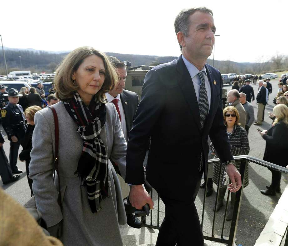 Virginia Gov. Ralph Northam, left, and his wife Pam, left, have come under scrutiny for alleged racial insensitivity — the governor for donning blackface when in his 20s and her for handing out cotton to African American students. Photo: Steve Helber /Associated Press / Copyright 2019 The Associated Press. All rights reserved