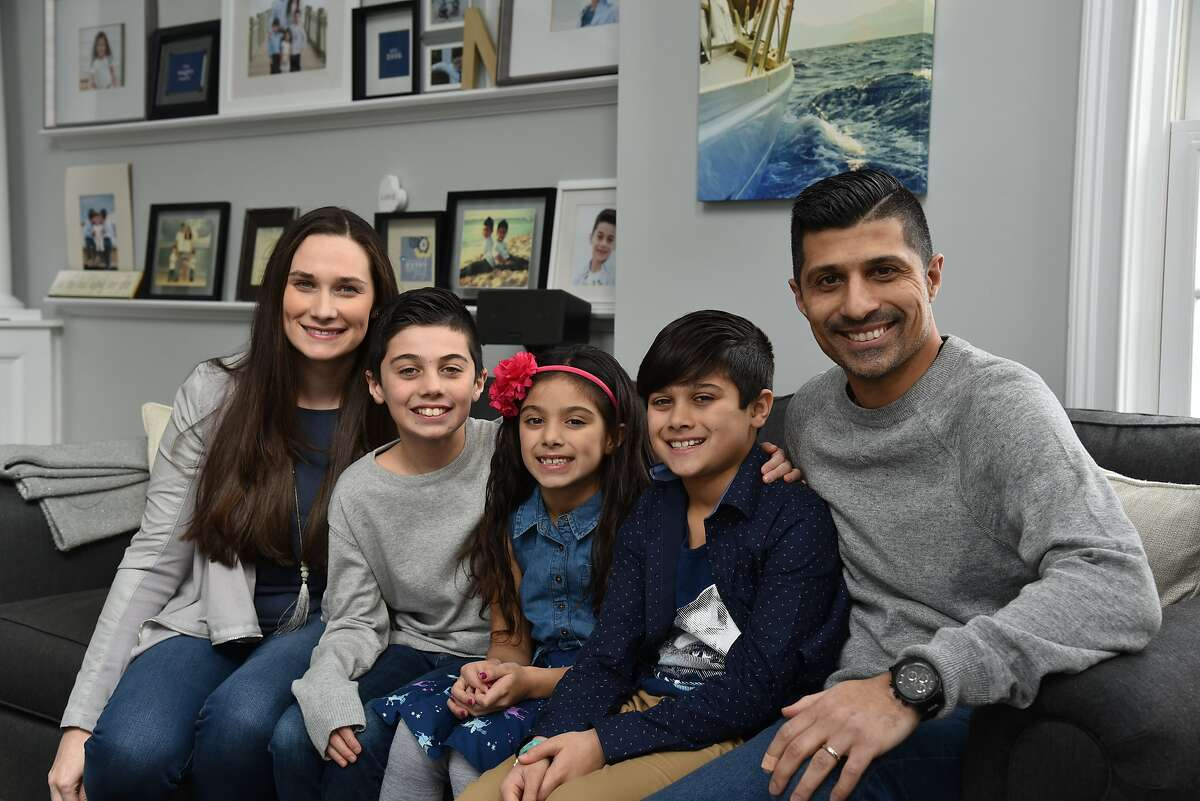 The Naqvi family - Amanda, Mickey, Sofia, Ayaan and Hamza - are all smiles as they prepare to watch themselves on Shark Tank.
