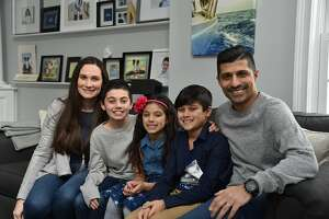 The Naqvi family — Amanda, Mickey, Sofia, Ayaan and Hamza — are all smiles as they prepare to watch themselves on Shark Tank this coming Sunday.
