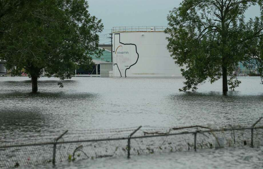 The Arkema chemical plant is flooded from Tropical Storm Harvey Wednesday, Aug. 30, 2017, in Crosby, Texas. Floodwaters from Harvey have knocked out power and generators that keep volatile organic peroxides stored at the facility cool. Employees and about 300 homes within a mile and half radius of the plant were evacuated Tuesday. ( Godofredo A. Vasquez / Houston Chronicle ) Photo: Godofredo A. Vasquez, Arkema / Godofredo A. Vasquez / Houston Chronicle