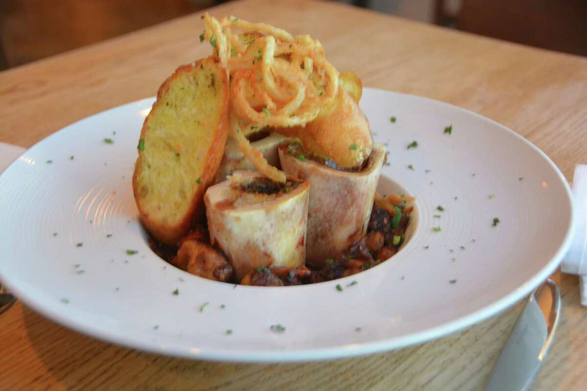 Bone Marrow with braised oxtail, crispy fried onion, artisan crustini at the Farmhouse in Newtown, Conn.