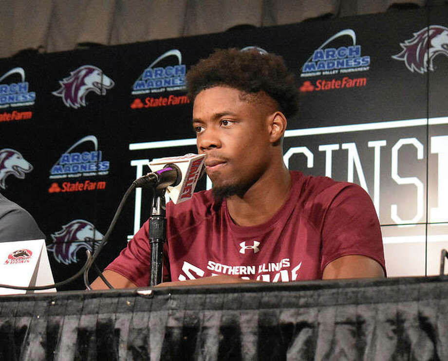 Armon Fletcher of SIU Carbondale answers questions during an organized interview Thursday before the start of the MVC Tournament. Photo: Matt Kamp/Intelligencer
