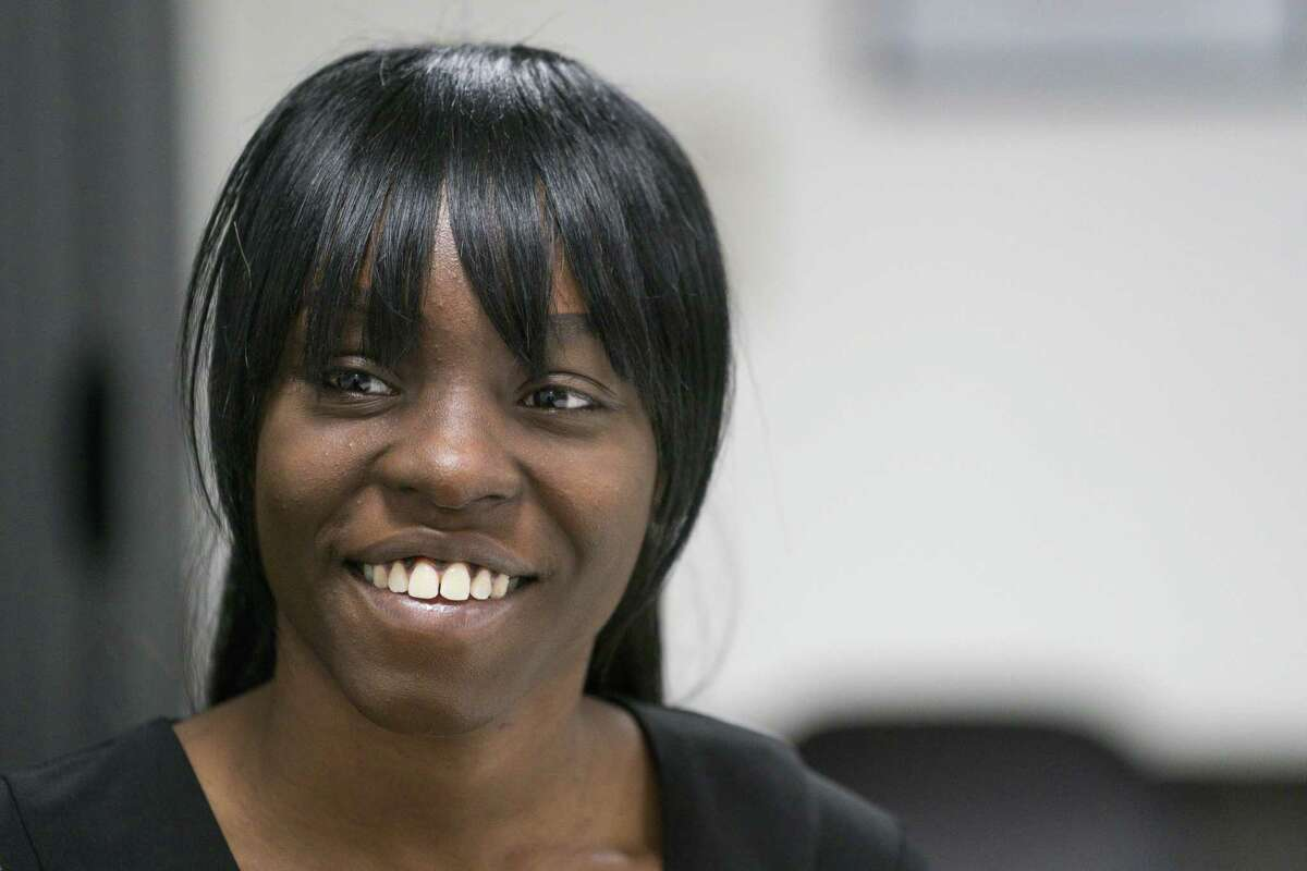 Elexis Duckworth, who is a mother of two and grew up in the foster system, talks about the housing voucher she is currently using at the HAY Center in Houston, Thursday, March 7, 2019. A federal grant recently provided $700,000 for housing vouchers in the Houston area for young adults aging out of foster care.