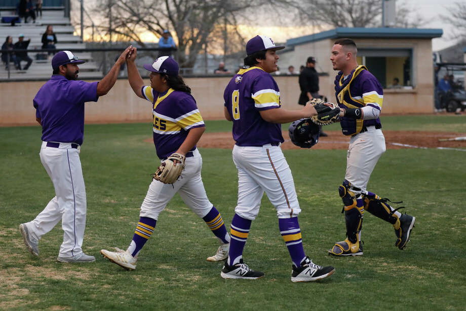 Pecos baseball players celebrate between innings during a West Texas March Classic game against Greenwood March 7, 2019, at Greenwood High School. James Durbin / Reporter-Telegram Photo: James Durbin / Midland Reporter-Telegram / ? 2019 All Rights Reserved
