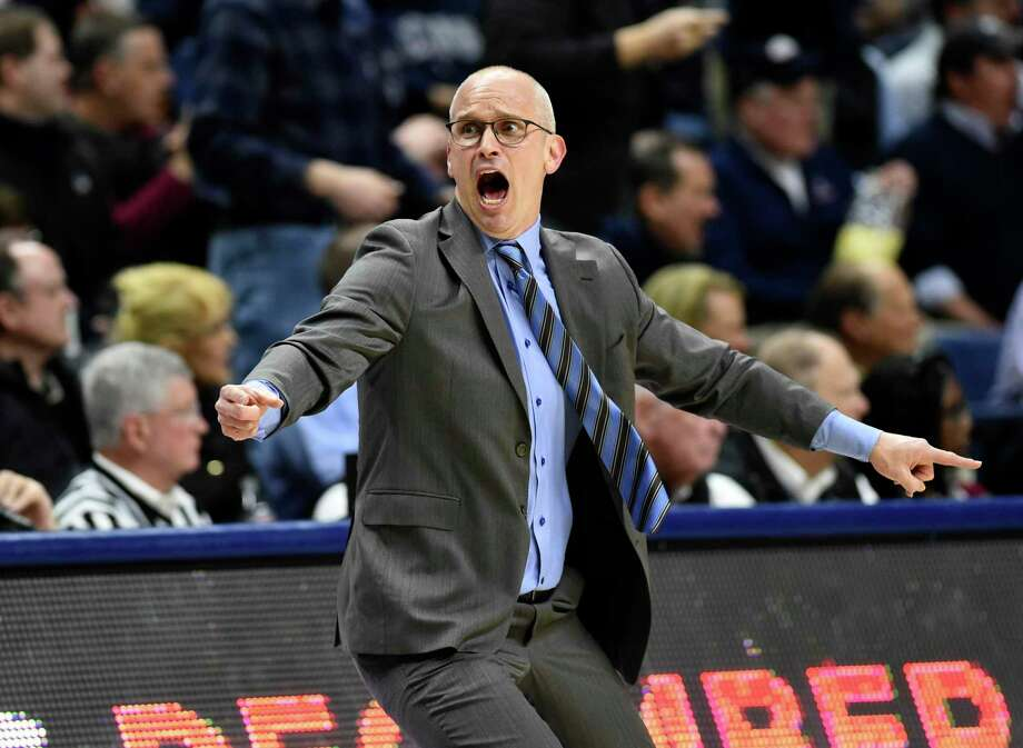 UConn coach Dan Hurley reacts to a foul call in the first half of Thursday's game against Temple at Gampel Pavilion in Storrs. Photo: Stephen Dunn / Associated Press / Copyright 2019 The Associated Press. All rights reserved