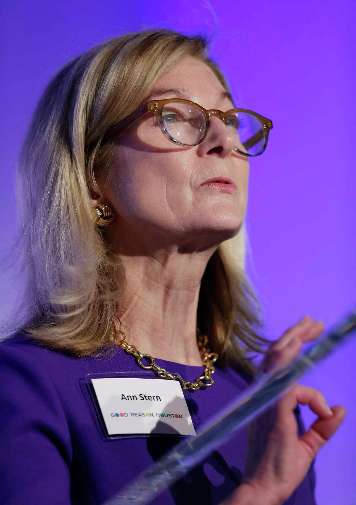 Ann Stern, board member of the non-profit Good Reason Houston, speaks at the organization's inaugural event at The Revaire Thursday, Mar. 7, 2019 in Houston, TX.