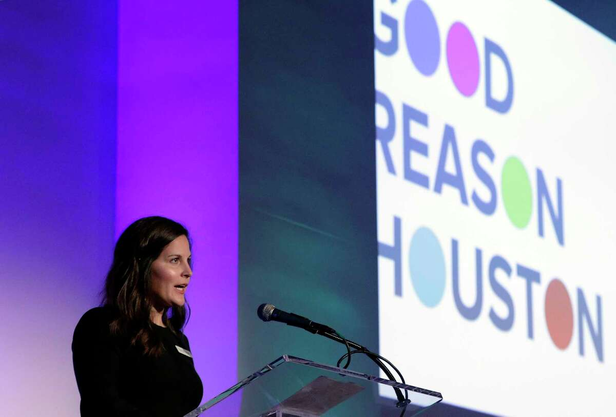 Alex Hales Elizondo, CEO of the non-profit Good Reason Houston, speaks at the organization's inaugural event at The Revaire Thursday, Mar. 7, 2019 in Houston, TX.