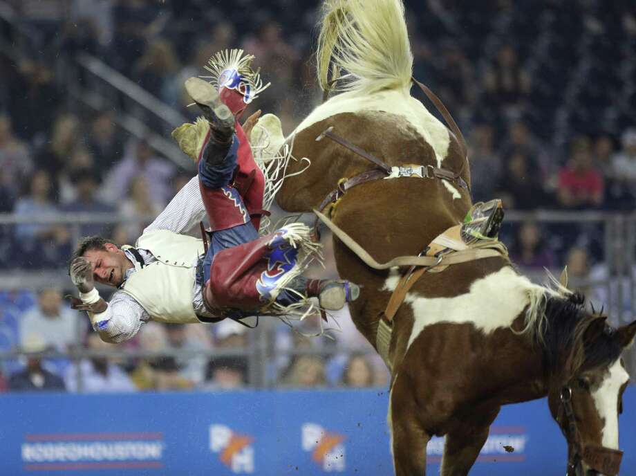 Taylor Broussard competes during bareback riding at the Houston Livestock Show and Rodeo Thursday, March 7, 2019, in Houston. Photo: Jon Shapley, Staff Photographer / © 2019 Houston Chronicle