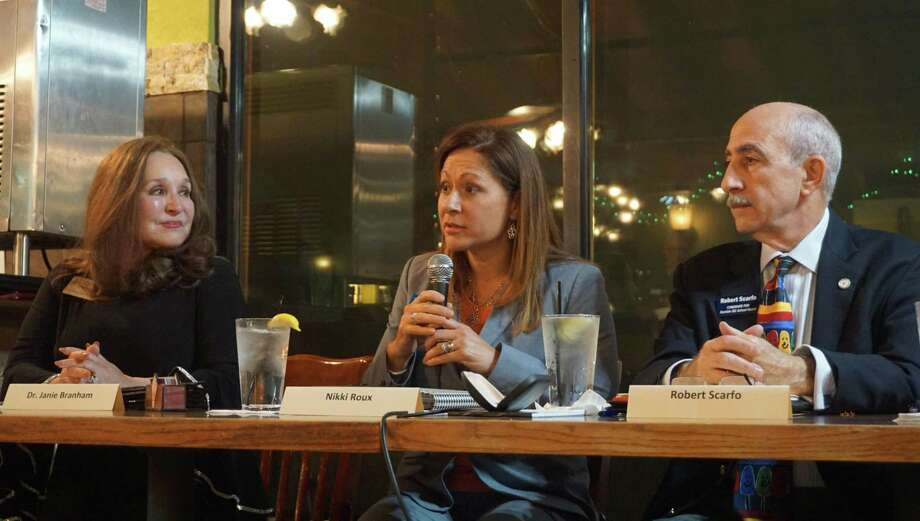 The candidates answer questions at the Humble ISD Candidate Forum on March 6, 2019 at Los Cucos Mexican Restaurant in Kingwood, TX. Photo: Nguyen Le / Staff Photo