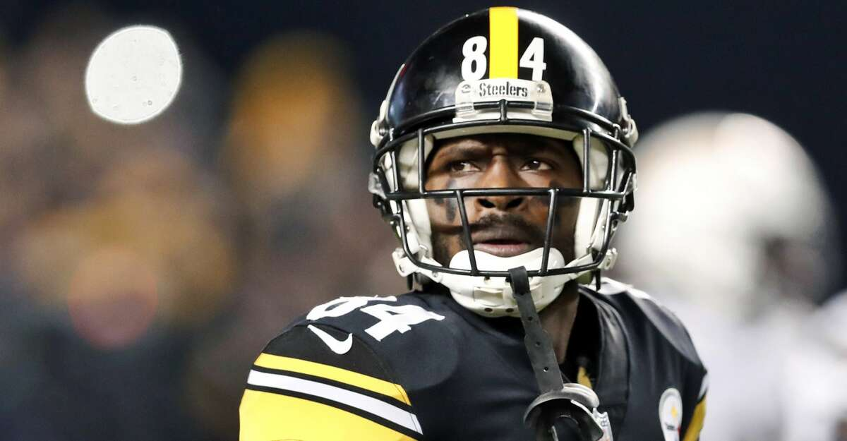 FILE - In this Dec. 2, 2018, file photo, Pittsburgh Steelers wide receiver Antonio Brown (84) plays against the Los Angeles Chargers in an NFL football game in Pittsburgh.