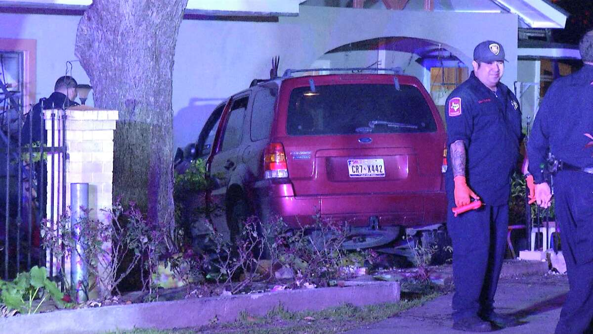 The homeowners told police they were sleeping at about 2:30 a.m. when the suspect barreled through their fence and crashed into their home in the 100 block of Coyle Place.