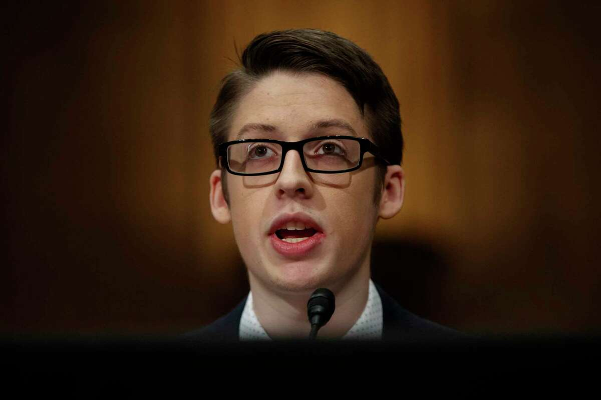 Ethan Lindenberger testifies during a Senate Committee on Health, Education, Labor, and Pensions hearing on Capitol Hill in Washington, Tuesday, March 5, 2019, to examine vaccines, focusing on preventable disease outbreaks.