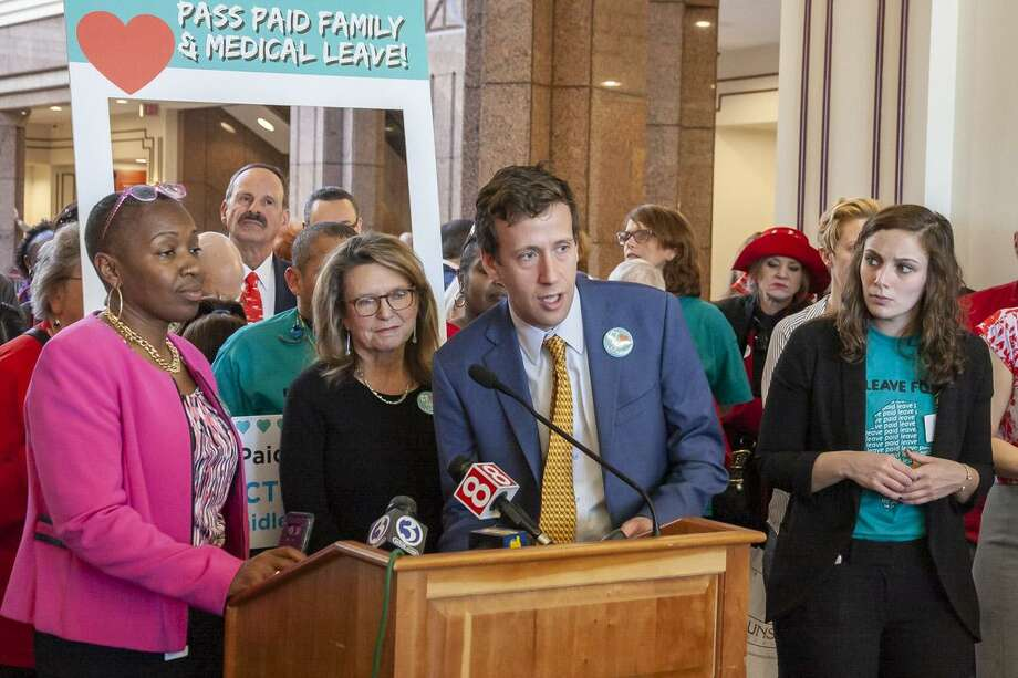 State Sen. Matt Lesser, D-Middletown, joined his colleagues in the House and Senate in support of Paid Family and Medical Leave at a subject matter public hearing recently. Photo: Contributed Photo
