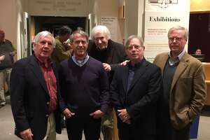 "Brian Walker, Neal Walker, Chance Browne, Greg Walker and Cullen Murphy presented a discussion on the ""Golden Age of Cartooning in Connecticut."""