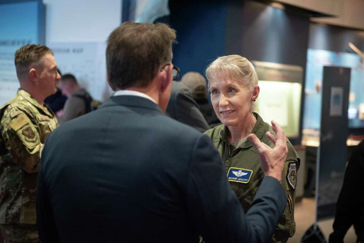 Brig. Gen. Jeannie Leavitt at the Captain Marvel movie screening at Smithsonian Air & Space Museum in Washington, D.C. Leavitt (right) speaks with CEO of Spirit of America Jim Hake before the movie starts.