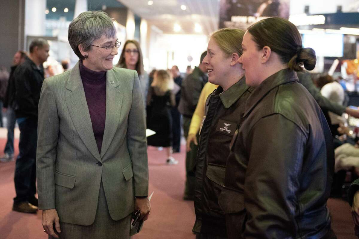 Brig. Gen. Jeannie Leavitt at the Captain Marvel movie screening at Smithsonian Air & Space Museum in Washington, D.C. USAF Secretary Heather Wilson (left) speaks with Capt. Meghan Vernier (center) and Staff Sgt. Elizabeth Krotec (right) before the movie.