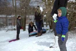 Everett Pritchard, 2, of Fairfield, enjoys the snow at Greens Farms School in Westport on Monday, March 4.