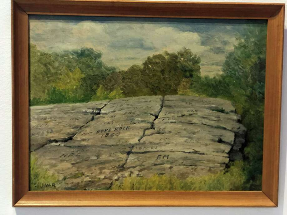 This painting is an oil on canvas depicting The Boys' Rock. It was painted by Joseph Wickham Roe (1871-1960) and given to the Fairfield Museum in 1978. Photo: Contributed /