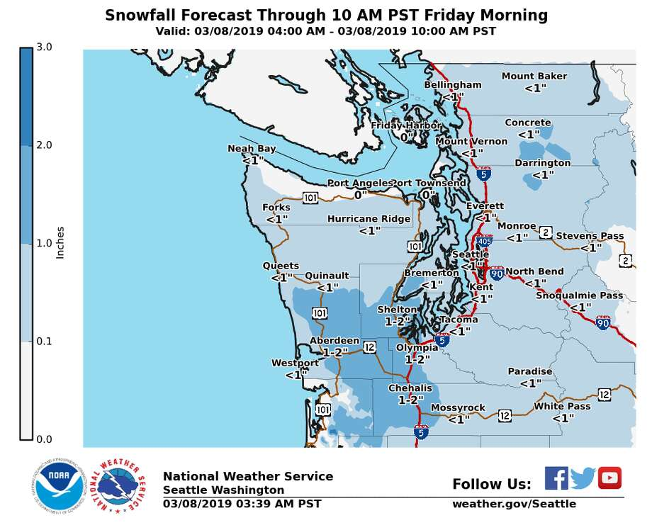 A morning update shows a possible 1-2 inches of snow through the Hood Canal and central coasts, March 8, 2019. Photo: Courtesy Of National Weather Service