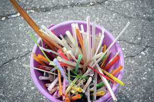 A collection of plastic straws gathered reecently at Greenwich Point by the local environmental group Skip the Straw.