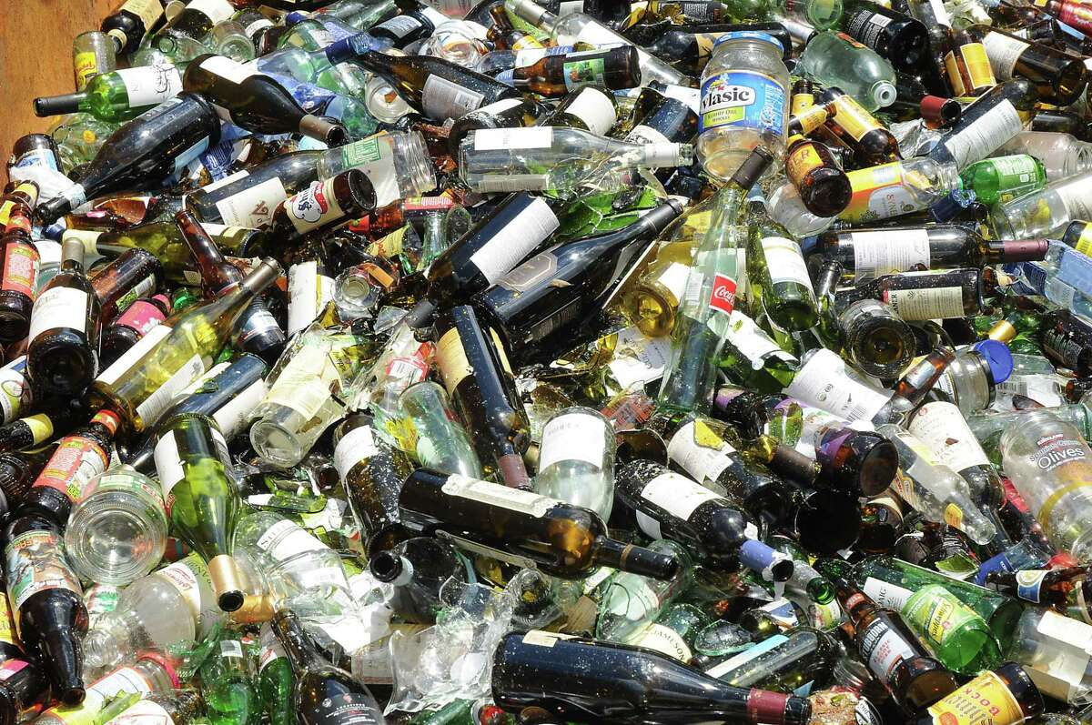 A pile of glass bottles.