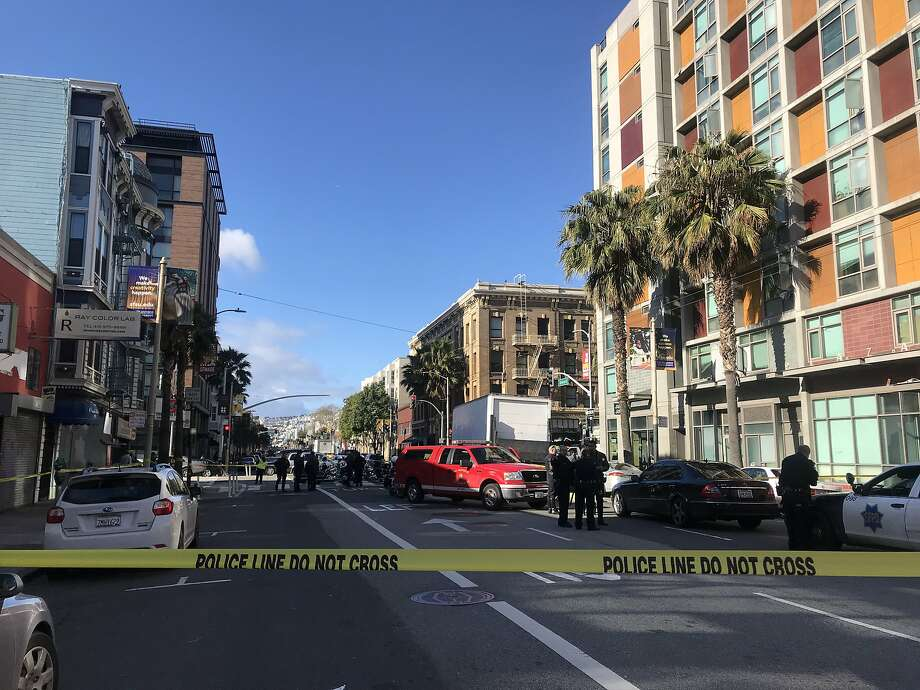 A woman riding a bike Friday morning on Howard Street was killed after a collision involving a white truck in San Francisco, authorities and witnesses said. Photo: Sarah Ravani, The Chronicle