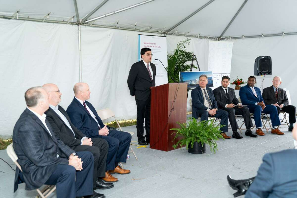 Officials attend the ground-breaking ceremony in Pearland for a 112,000-square-foot regional headquarters for Endress+Hauser, a global leader in measurement instrumentation, services and solutions for industrial process engineering.