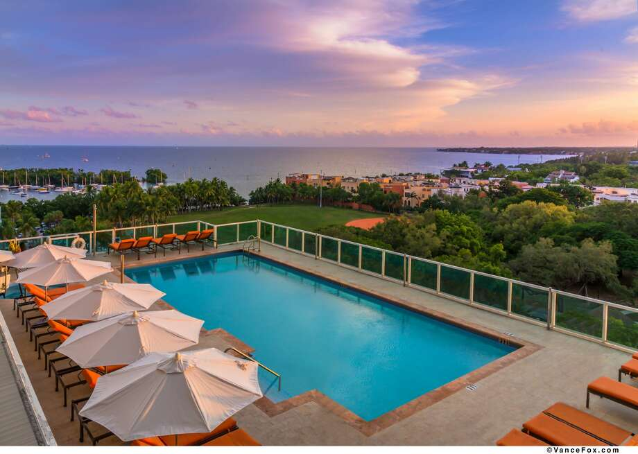 Looking out over the Hotel Arya pool and Biscayne Bay in Miami Photo: VANCE FOX, Best Western