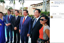 Future Florida governor Ron DeSantis (center) attended a pro-Israel gala at Mar-a-Lago on Feb. 25, 2018. The event was also attended by Cindy Yang (far left). Tickets cost $1,000 per person, according to the Israeli newspaper Haaretz. (Facebook/Miami Herald/TNS)