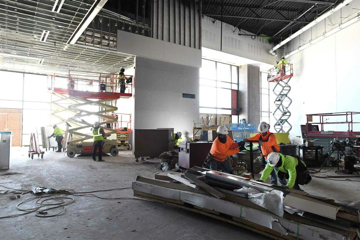 Workers are getting the new Santikos Entertainment Center into shape for a projected May opening. It will have 87,000 square feet of space and include laser tag, bowling, movie theater and arcade. March 5, 2019.