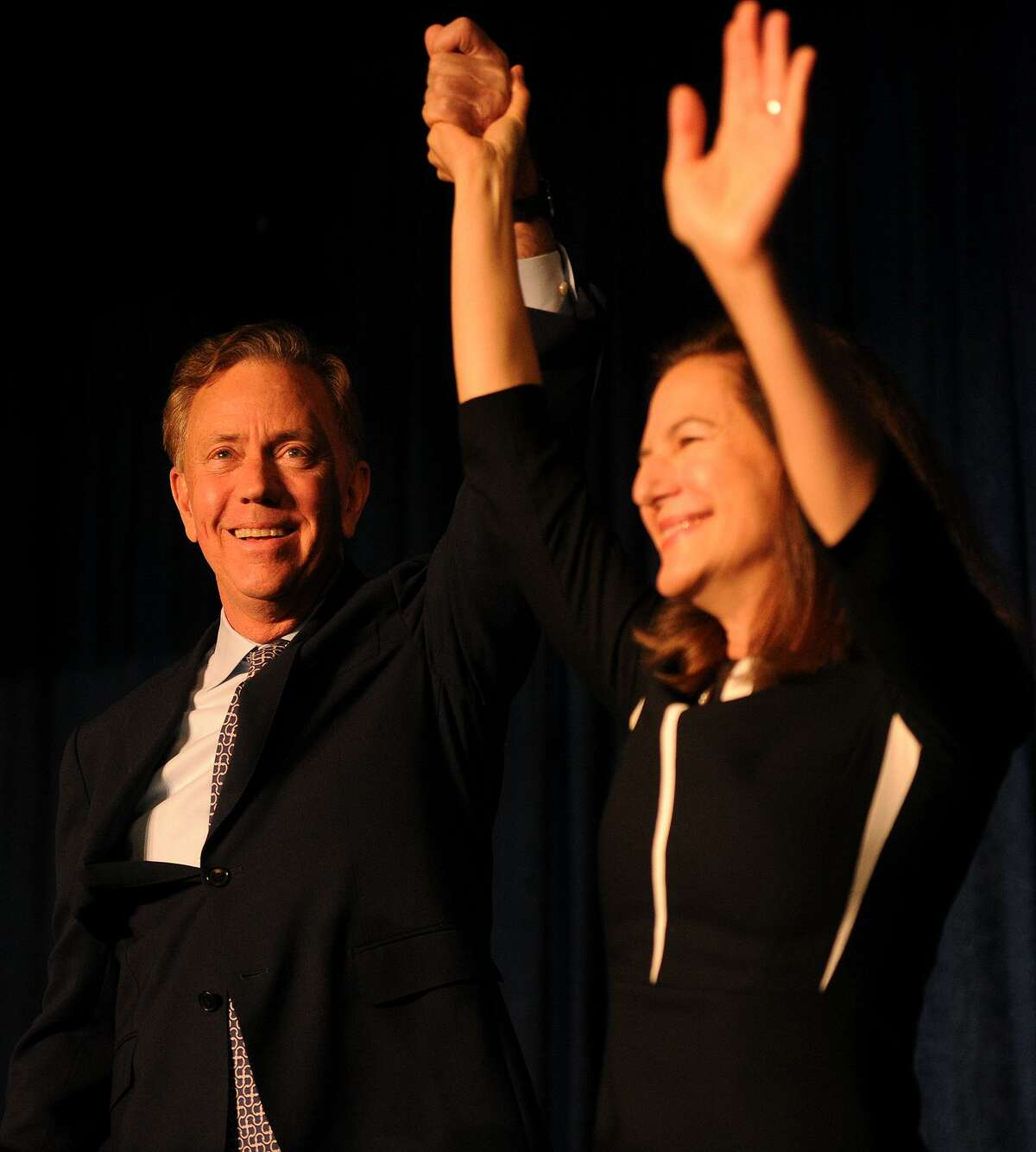 Governor-elect Ned Lamont and Lt. Governor-elect Susan Bysiewicz celebrate their victory at Dunkin Donuts Park in Hartford on Nov. 7.