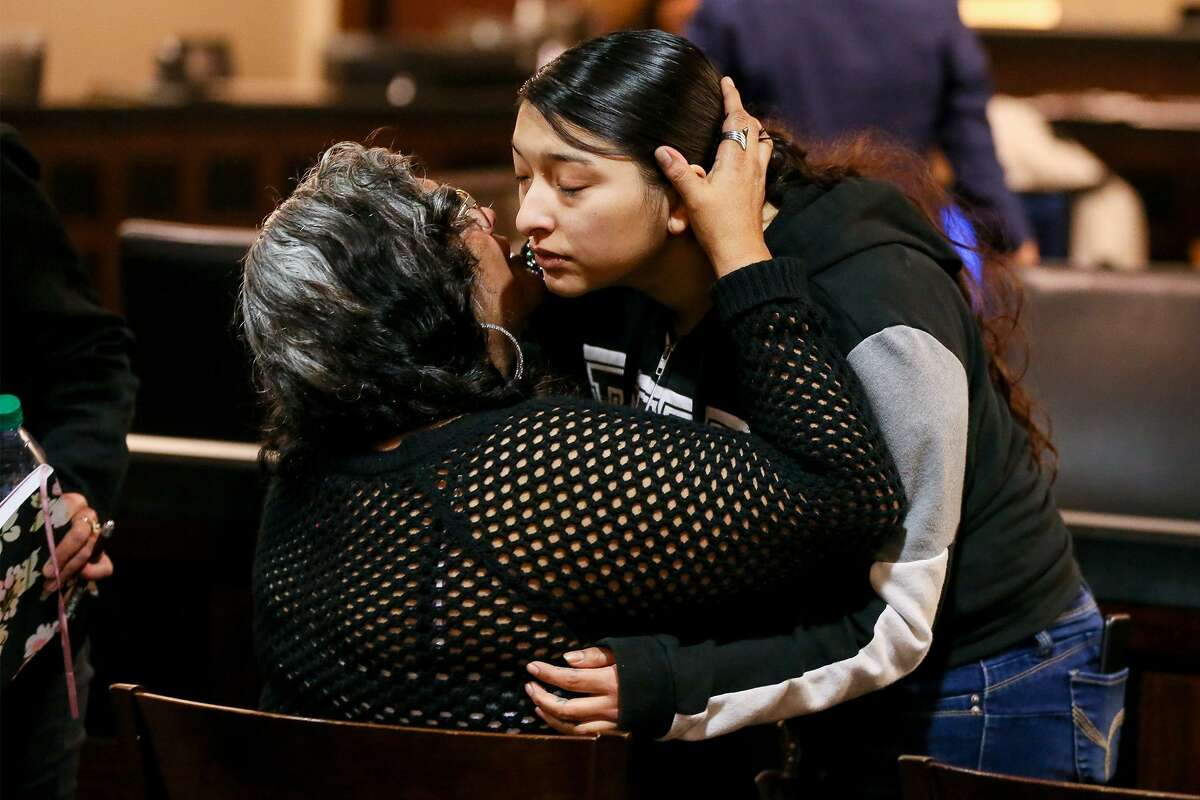 Baby Vasquez, right, is comforted by her mother, Ofelia Martinez as she leaves the courtroom following closing arguments Friday in the murder trial of Jesse Ray Castilla. Castilla is accused of killing Vasquez's boyfriend, Joseph Camarena, on Nov. 17, 2017, and stuffing the body in a barrel.