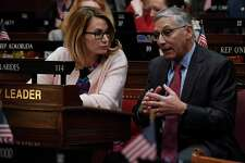 Connecticut House Minority Leader Themis Klarides, R-Derby, left, talks with Senate Minority Leader Len Fasano, R-North Haven.