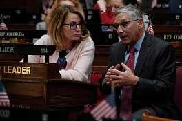 House Minority Leader Themis Klarides, R-Derby, left, talks with Senate Minority Leader Len Fasano, R-North Haven, in a file photo.