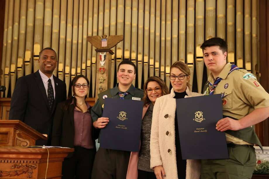 From left, state Sen. George Logan, state Rep. Kara Rochelle, Troop 3 Derby Eagle Scout Elliott Moscato, state Rep. Nicole Klarides-Ditria, House Republican Minority Leader Themis Klarides and Troop 3 Derby Eagle Scout James Cobaugh Photo: Contributed Photo / Randy Ritter