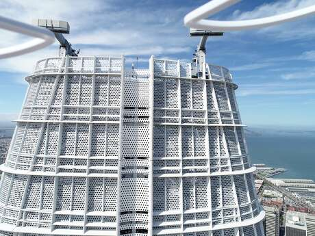 A drone inspects Salesforce Tower in San Francisco. The practice is becoming more popular because it's cheaper and faster than traditional human inspections.
