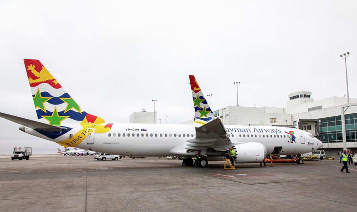 Cayman Airways' 737 MAX 8 arrives at Denver International.