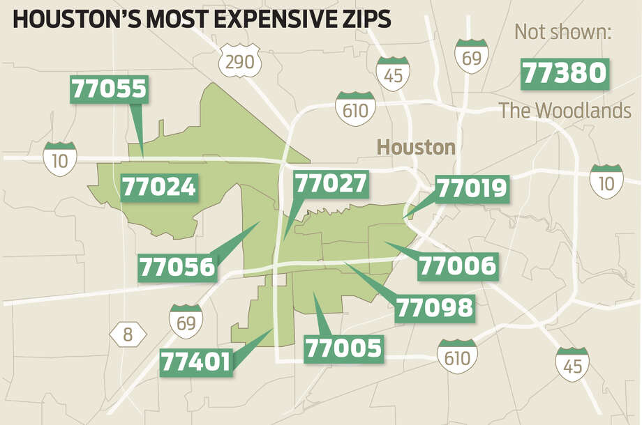 Realtor.com identified the most expensive ZIP codes in the Houston area, based on the median listing price in 2018.Keep going to see how Houston's priciest places compare with the nation's most expensive ZIP codes. Photo: Ken Ellis / Houston Chronicle