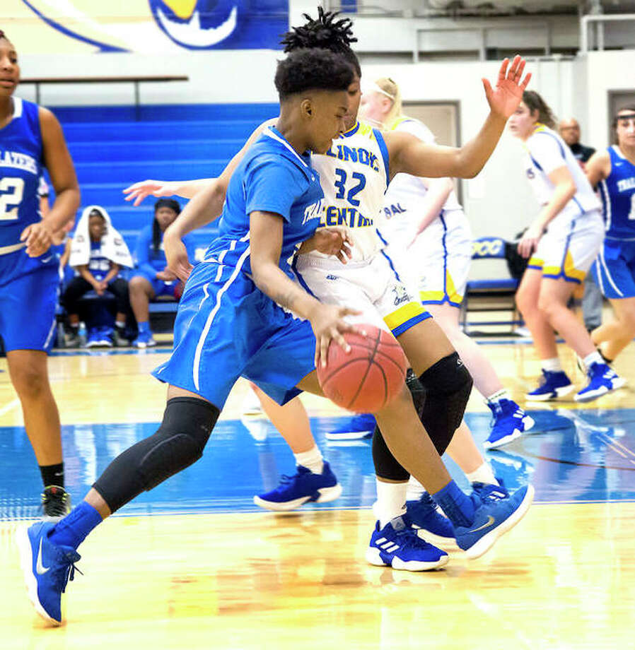 LCCC's Desiree Jackson controls the ball against Illinois Central College during a game earlier this season in East Peoria. The Trailblazers will again face No. 1-ranked ICC on Saturday in a district semifinal game in Danville. Photo: Jan Dona | For The Telegraph