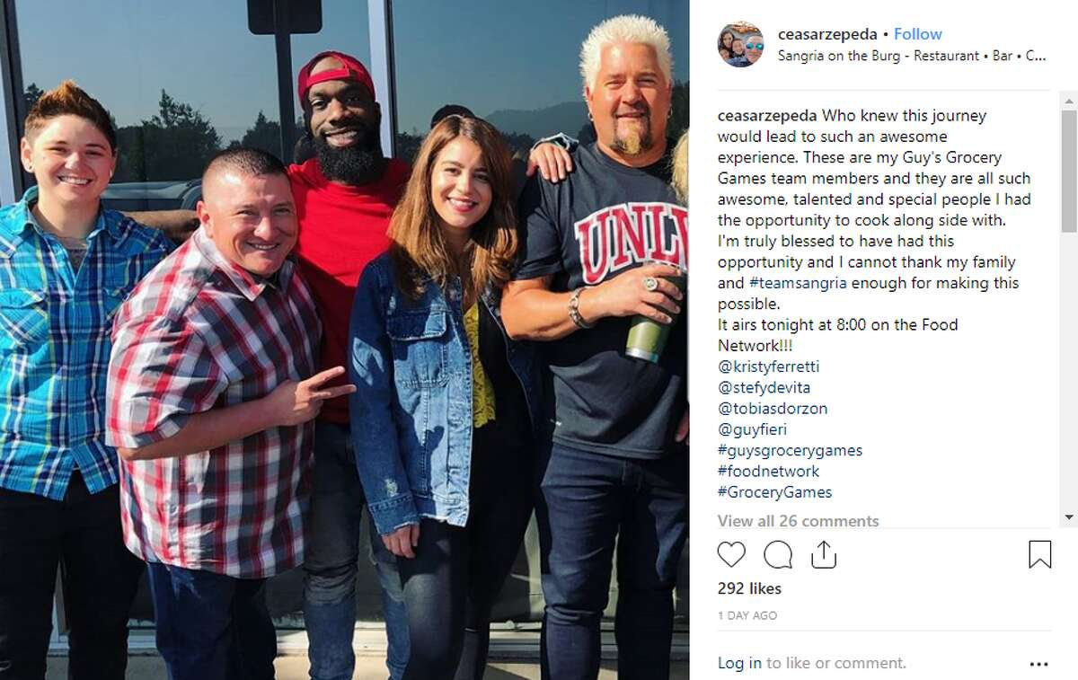 Cesar Zepeda poses with the chefs he competed against on Guy's Grocery Games, a cooking game show hosted by Guy Fieri.