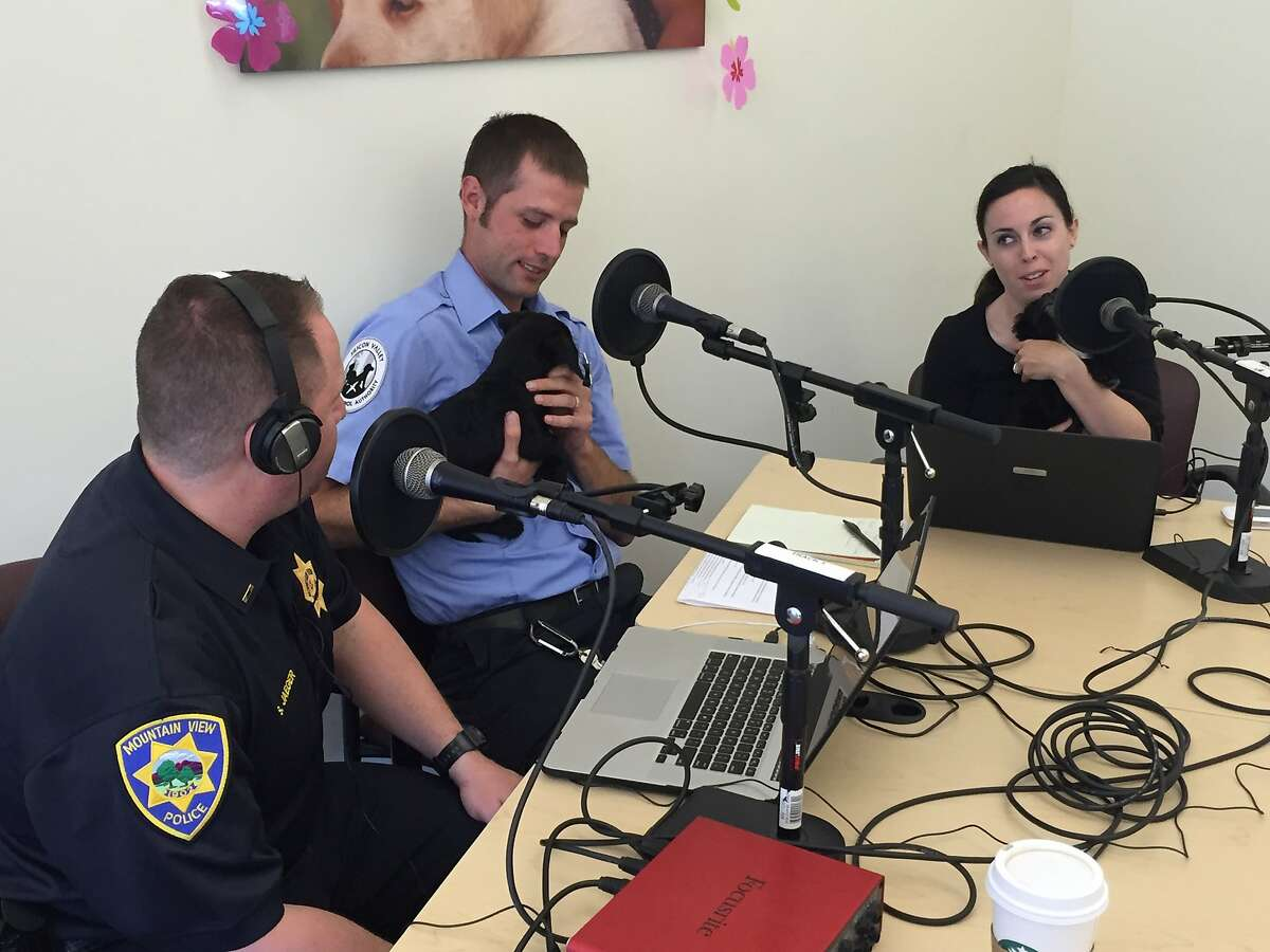 Mountain View Police Department Spokeswoman Katie Nelson and Lt. Saul Jaeger record