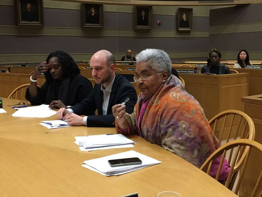 From left, Serena Neal-Sanjurjo, Alder Aaron Greenberg and Alder Delores Colon attend a hearing on affordable housing. Photo: Mary E. O'Leary / Hearst Connecticut Media File