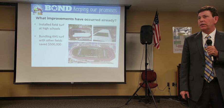 Humble ISD's Deputy Suprerintendent Roger Brown explains what the district has done so far with the $575 million bond on March 7, 2019. Photo: Kaila Contreras