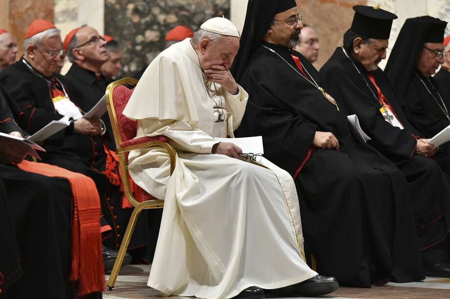 Pope Francis attends a penitential liturgy at the Vatican on Feb. 23. The pope is sometimes abetting  bishops who are avoiding accountability in the church's abuse scandal. Photo: Vincenzo Pinto /Associated Press / Copyright 2019 The Associated Press. All rights reserved