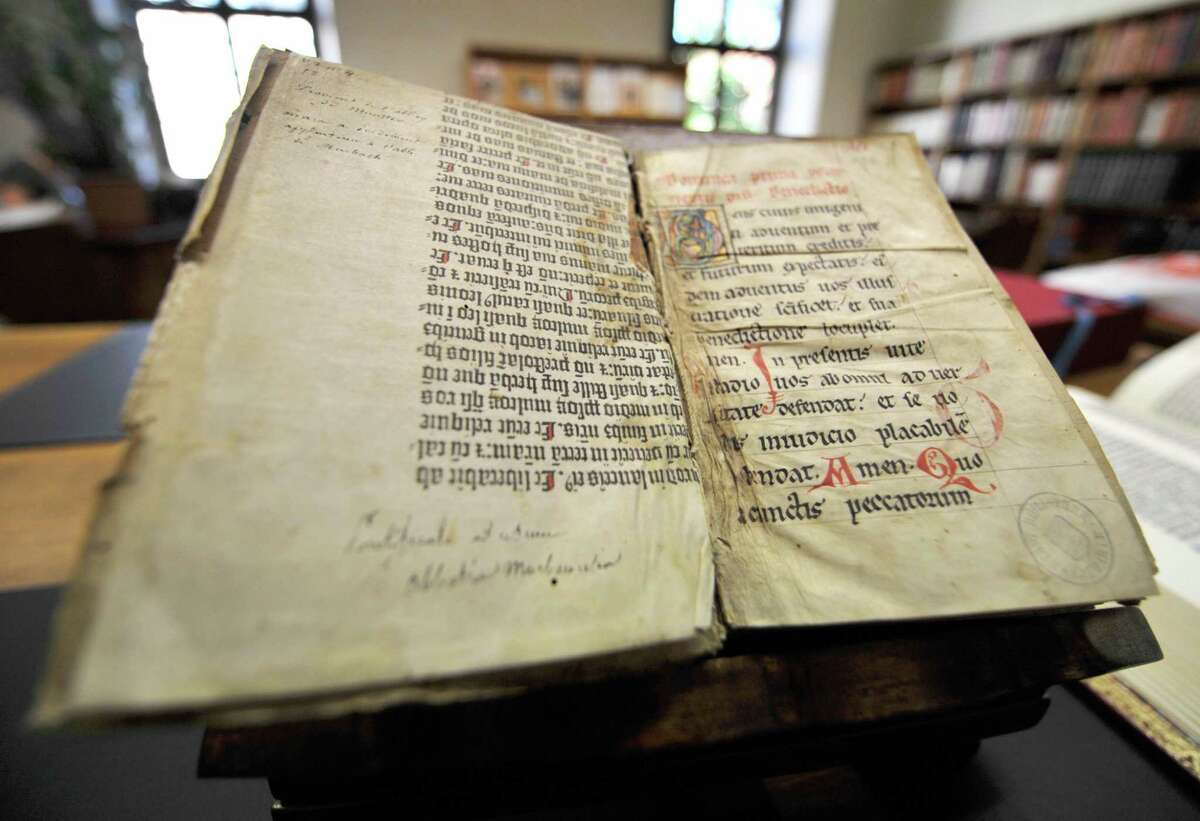 A Gutenberg Bible discovered in a library in Colmar in northeastern France by a library assistant, who was searching the collection for something else.