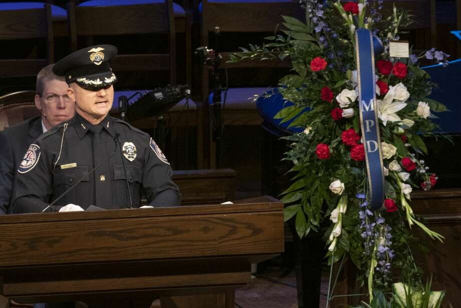 Police Chief Seth Herman speaks at First Baptist Church 03/08/2019 during funeral services for Officer Nathan Heidelberg. Tim Fischer/Reporter-Telegram Photo: Tim Fischer