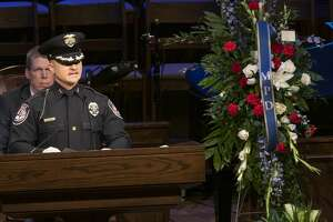Police Chief Seth Herman speaks at First Baptist Church 03/08/2019 during funeral services for Officer Nathan Heidelberg. Tim Fischer/Reporter-Telegram